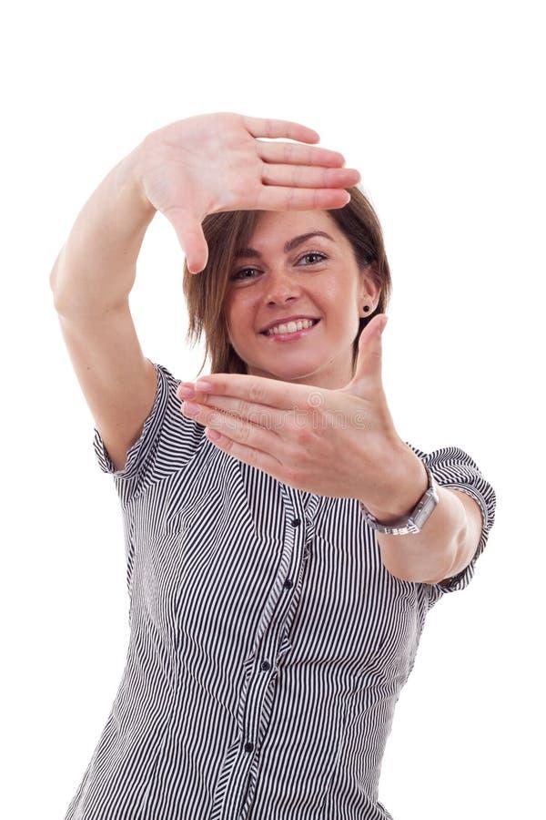 Geschäftsfrau bildet ein Handfeld stockfotos