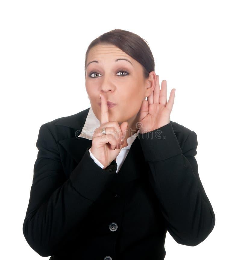 Geschäftsfrau bittet um Aufmerksamkeit lizenzfreie stockfotografie