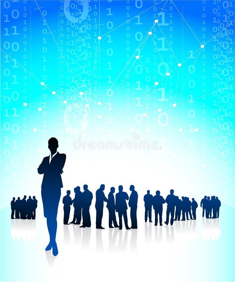 Geschäftsfrau CEO mit Finanzteam lizenzfreie abbildung