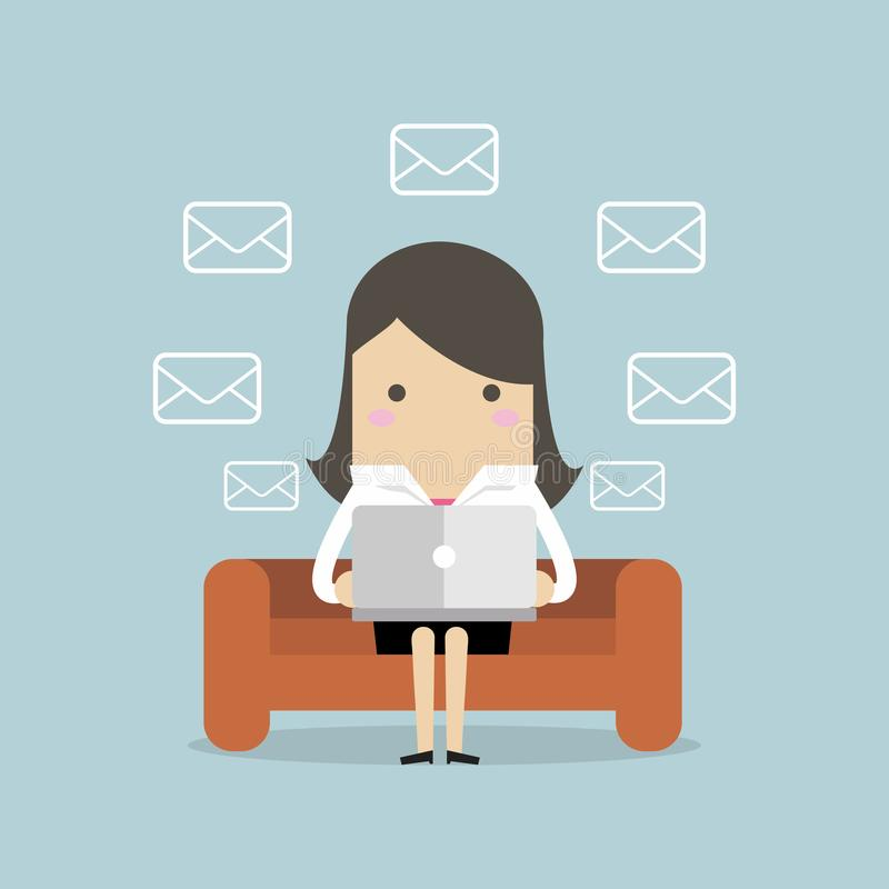 Geschäftsfrau Checks Email Messages stock abbildung