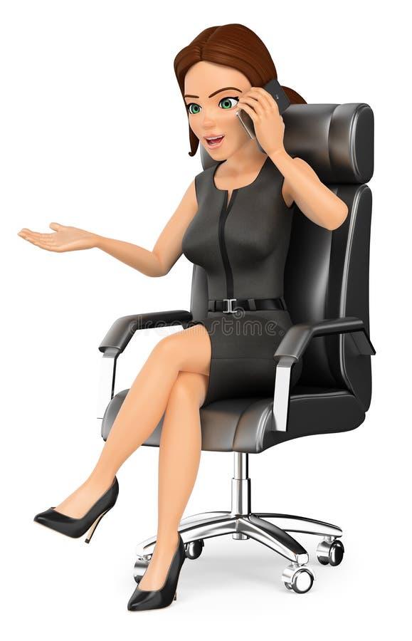 Geschäftsfrau 3D, die in ihrem Büro spricht am Handy sitzt vektor abbildung