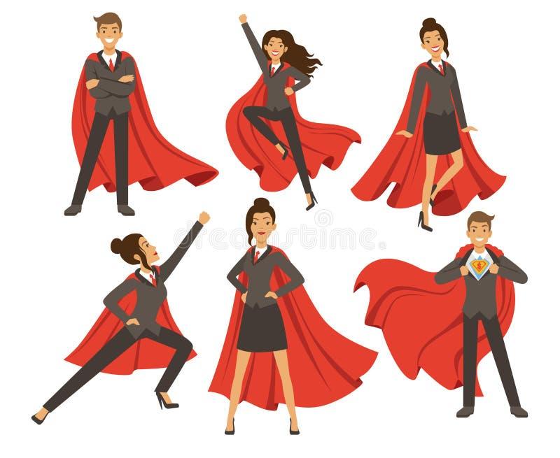 Geschäftsfrau in den Aktionshaltungen Weibliches Superheldfliegen Vektorillustrationen in der Karikaturart vektor abbildung