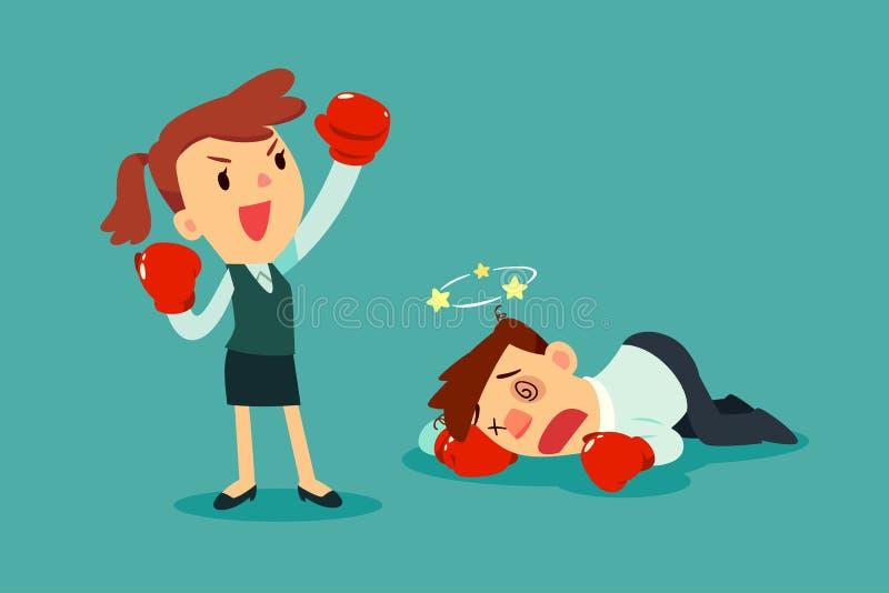 Geschäftsfrau in den Boxhandschuhen gewann den Kampf gegen Geschäftsmann vektor abbildung