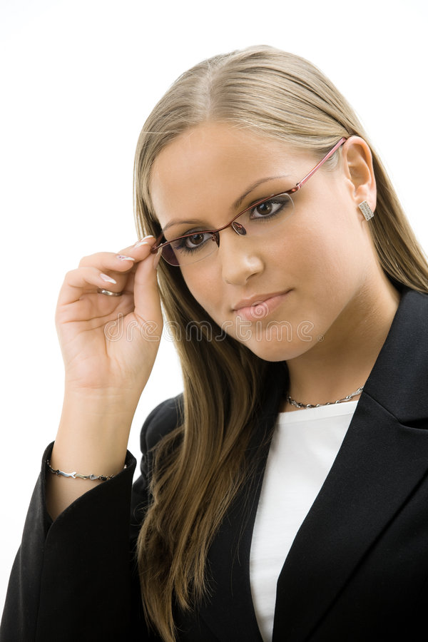 Geschäftsfrau in den Gläsern stockfoto