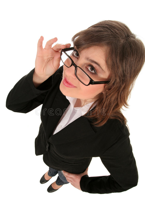 Geschäftsfrau in den Schauspielen stockbilder