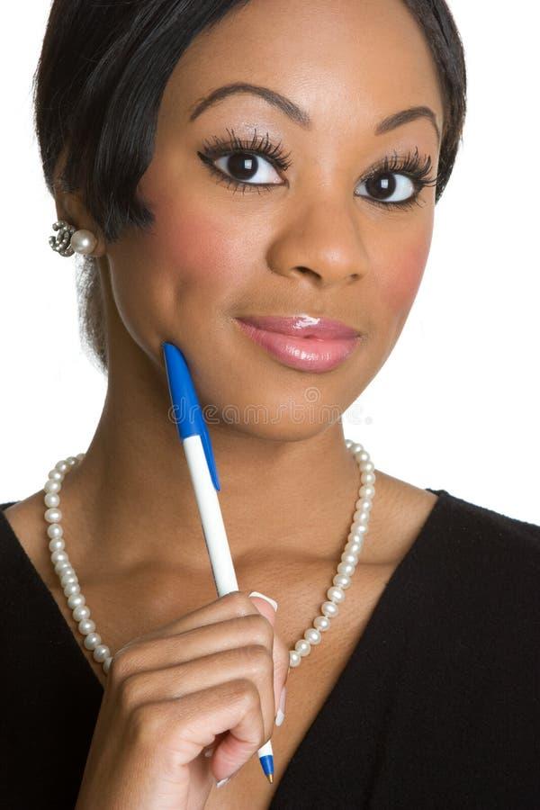 Geschäftsfrau-Denken stockbilder