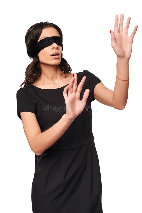 Geschäftsfrau in der Augenbinde stockfotos