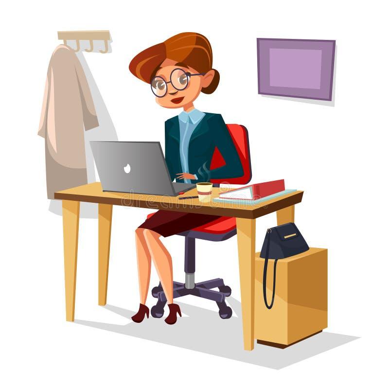 Geschäftsfrau in der Bürovektorillustration von überzeugtem an modernem Schreibtisch des Laptops bei Tisch arbeiten des Karikatur lizenzfreie abbildung