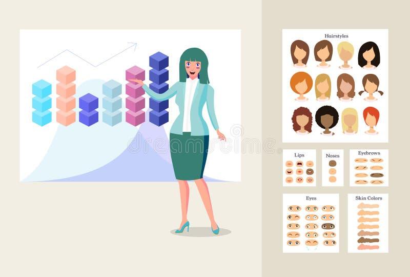 Geschäftsfrau in der Darstellung lizenzfreie abbildung