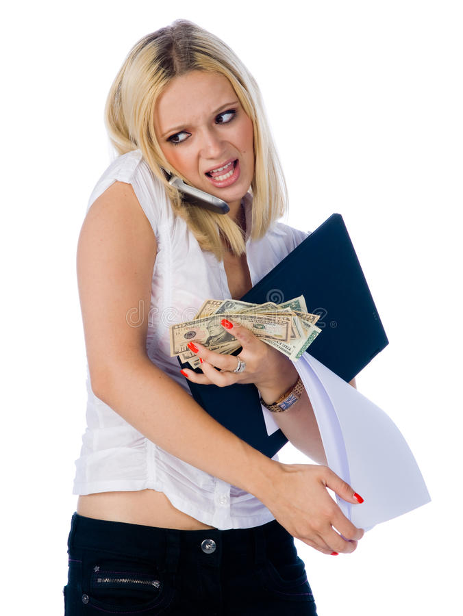 Geschäftsfrau in der Drucksituation stockbilder