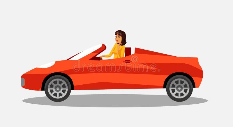 Gesch?ftsfrau in der konvertierbaren roten Auto-Illustration stock abbildung