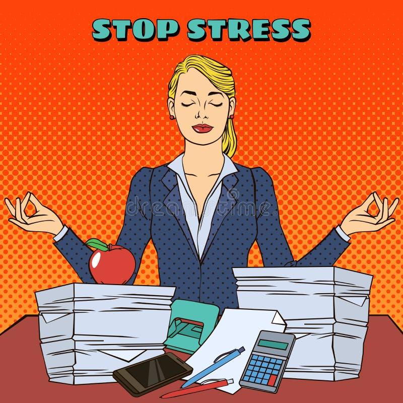 Geschäftsfrau in der Yogahaltung Mehrprozeßarbeit im Büro Pop-Art stock abbildung