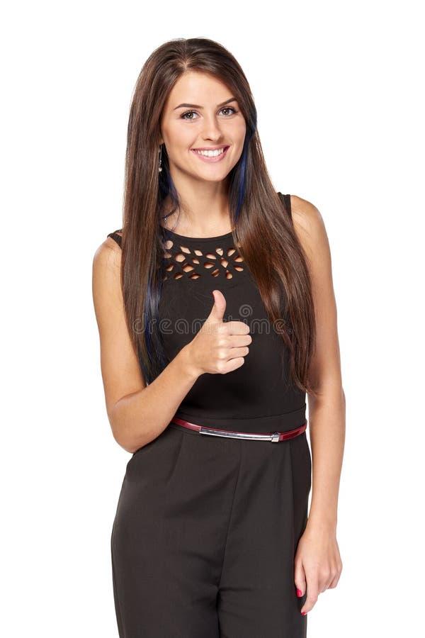 Geschäftsfrau, die anerkennend Zeichen gestikuliert stockbild