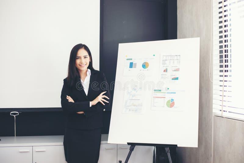 Geschäftsfrau, die Arbeiten über das Brett bei der Sitzung darstellt lizenzfreie stockfotos