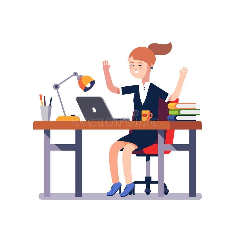 Geschäftsfrau, die Arbeitsleistung feiert stock abbildung