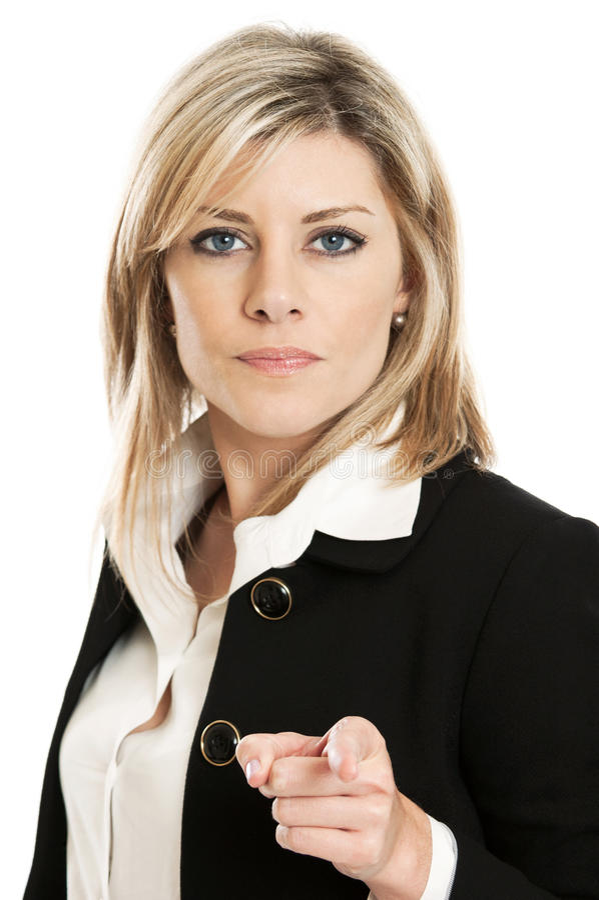 Geschäftsfrau, die auf cameraq zeigt stockfoto
