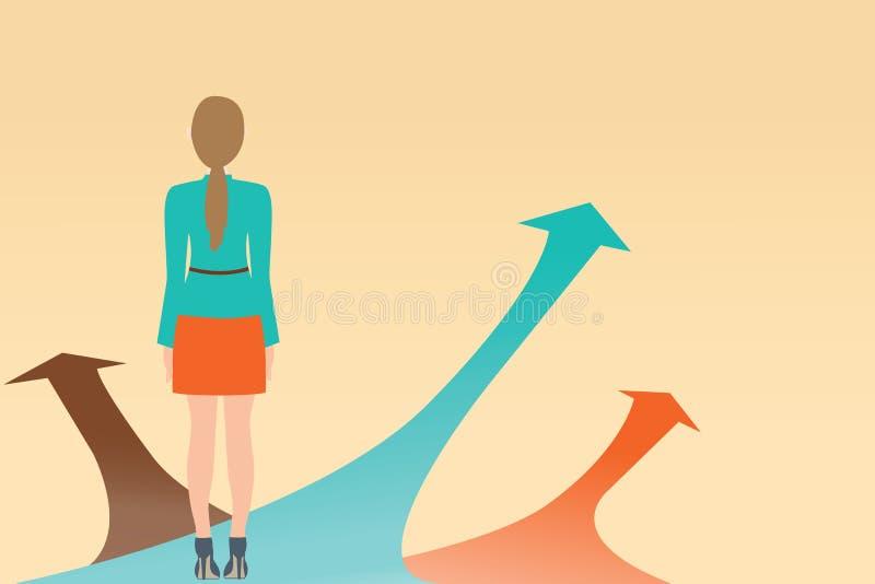 Geschäftsfrau, die auf dem Pfeil mit vielen Richtungsweisen, C steht lizenzfreie abbildung
