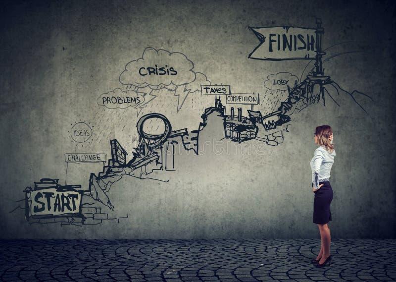 Geschäftsfrau, die auf dem Weg eine Skizze von Problemen oben betrachtet stockbild
