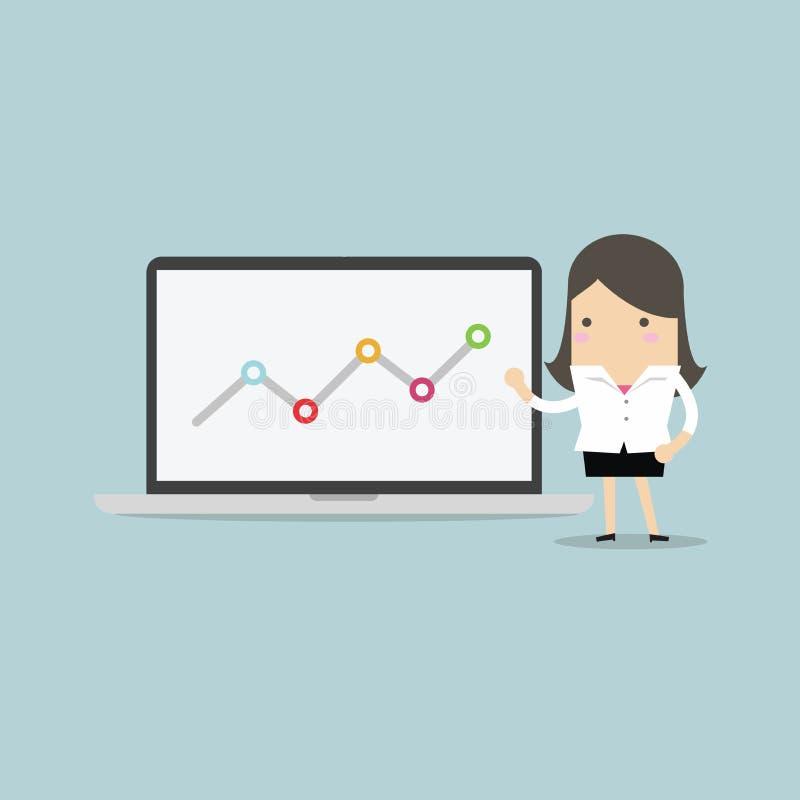Geschäftsfrau, die auf Diagramm im Laptop zeigt stock abbildung