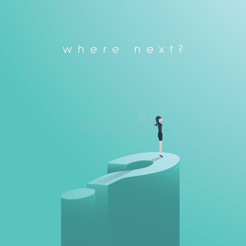 Geschäftsfrau, die auf großem Fragezeichen-Vektorkonzept steht Symbol der Gelegenheit, Lösungen, Dilemma stock abbildung