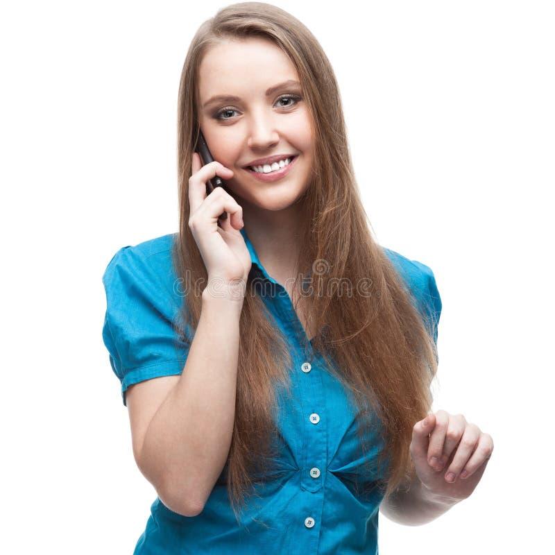 Geschäftsfrau, die auf Handy spricht stockfoto