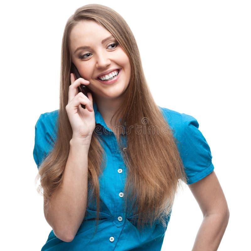 Geschäftsfrau, die auf Handy spricht lizenzfreie stockfotografie