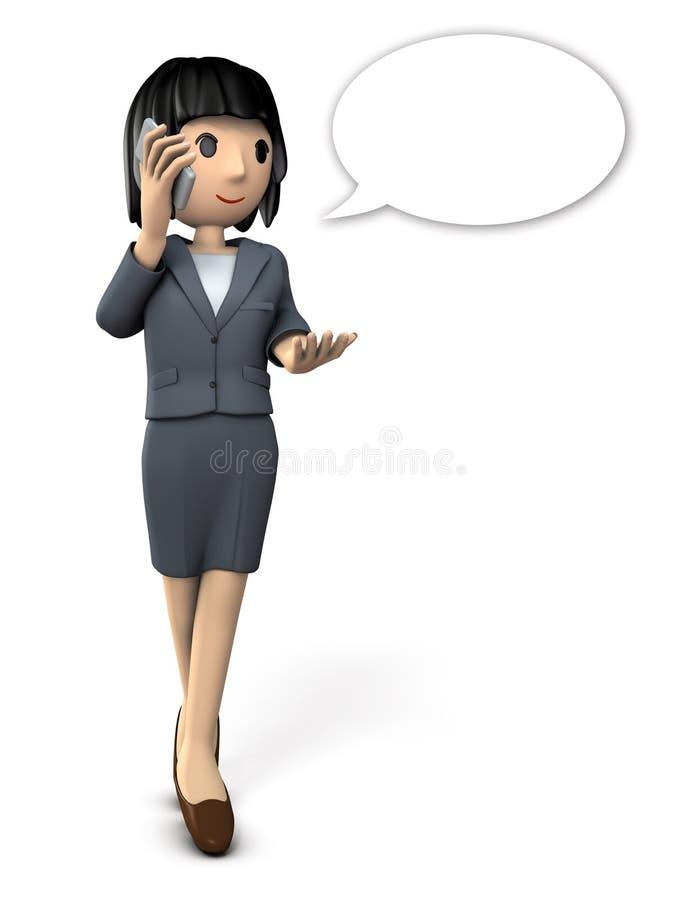 Geschäftsfrau, die auf Smartphone spricht lizenzfreie abbildung