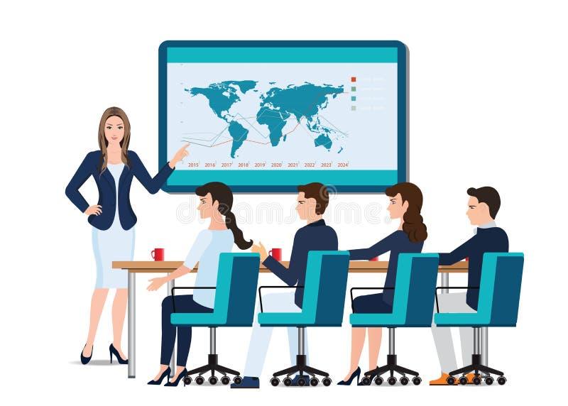 Geschäftsfrau, die auf whiteboard sich darstellt stock abbildung
