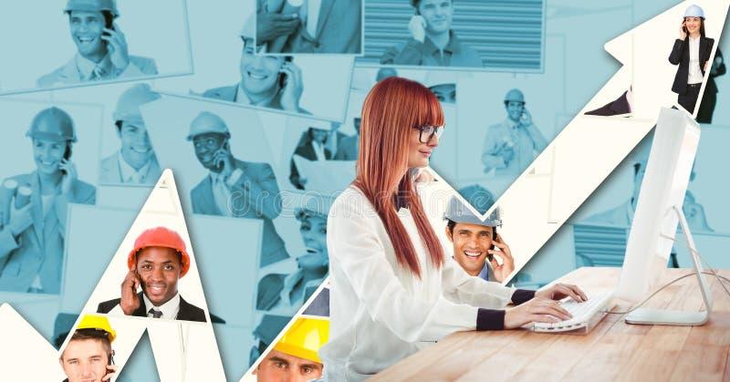 Geschäftsfrau, die Computer gegen Diagramm mit Porträts verwendet stockfotografie