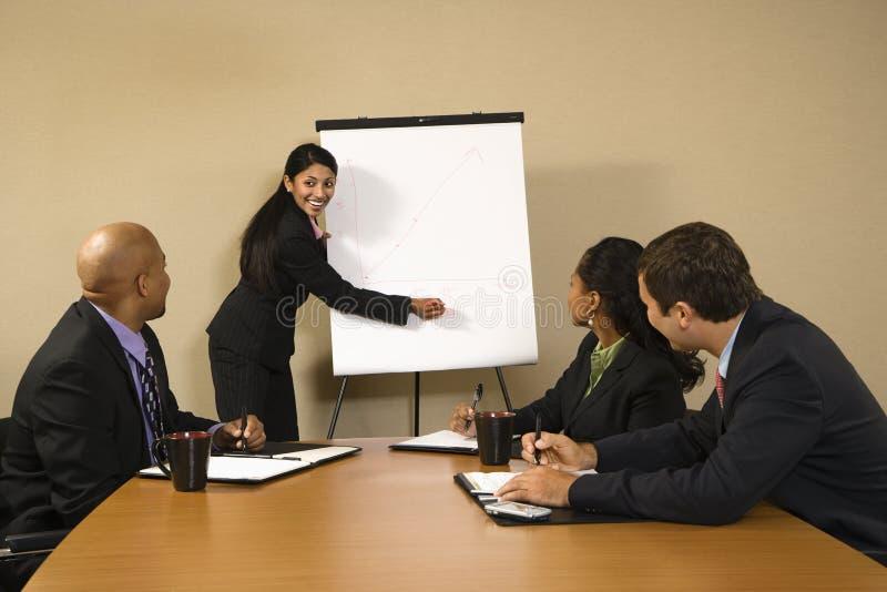 Geschäftsfrau, die Darstellung tut. lizenzfreies stockbild
