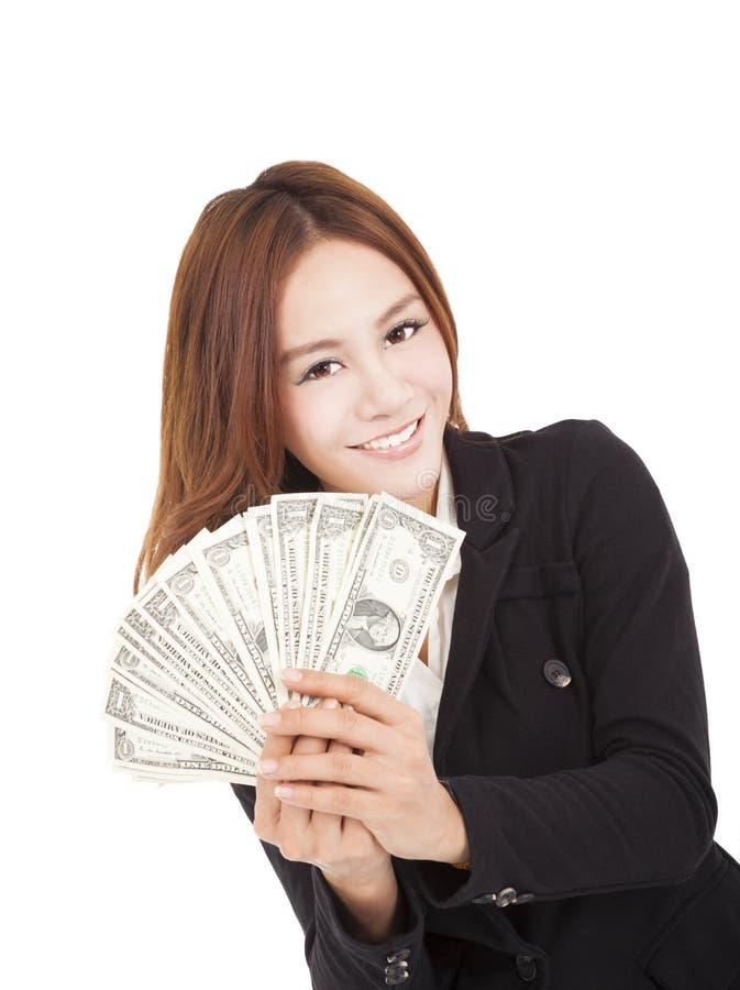 Geschäftsfrau, die das Geld hält lizenzfreie stockfotografie