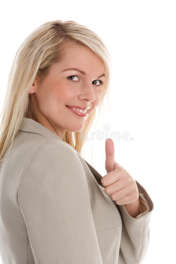 Geschäftsfrau, die Daumen aufgibt stockfotos
