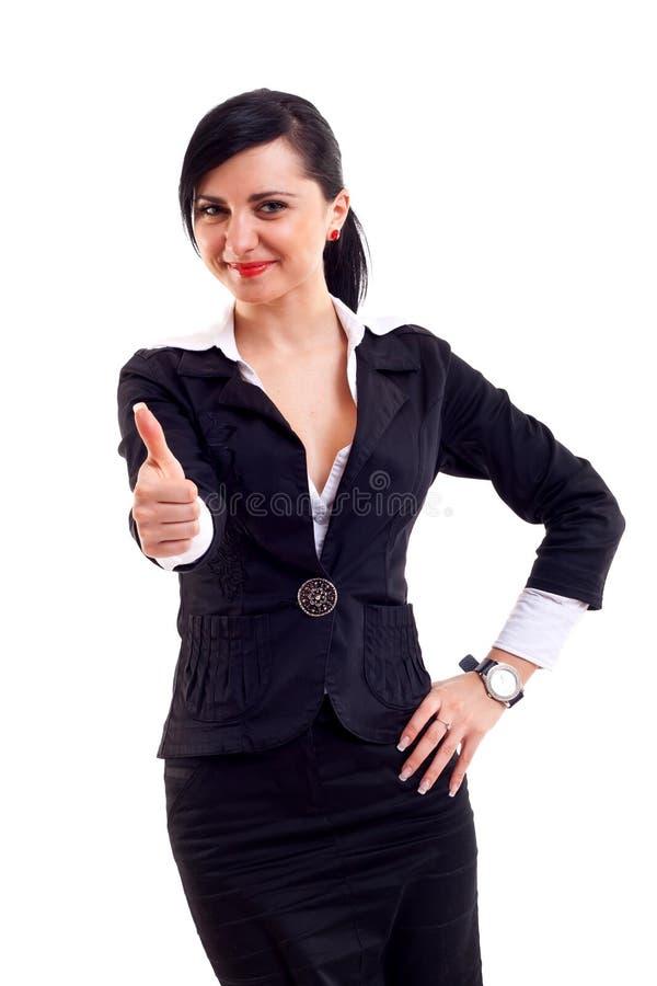 Geschäftsfrau, die Daumen aufgibt lizenzfreie stockfotografie