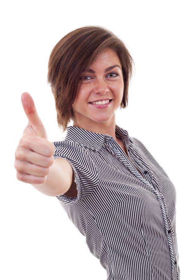 Geschäftsfrau, die Daumen herauf Geste herstellt stockbild