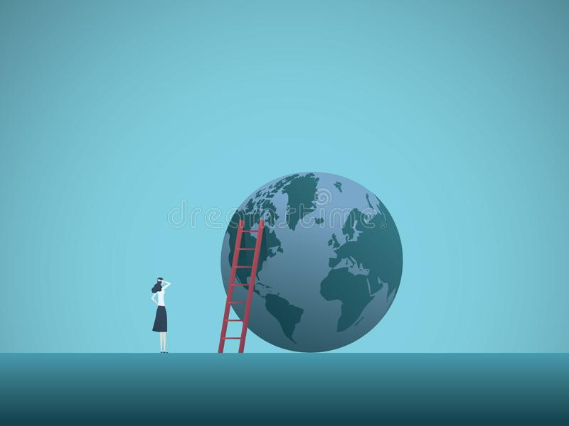 Geschäftsfrau, die an der Spitze des Weltvektorkonzeptes schaut Symbol des Ehrgeizes, Erfolg, Motivation, Leistung lizenzfreie abbildung