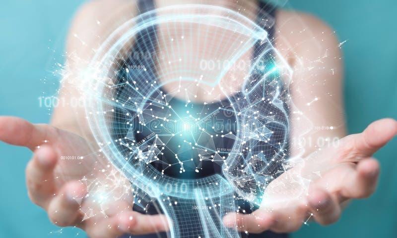 Geschäftsfrau, die digitale Schnittstelle 3D der künstlichen Intelligenz verwendet vektor abbildung