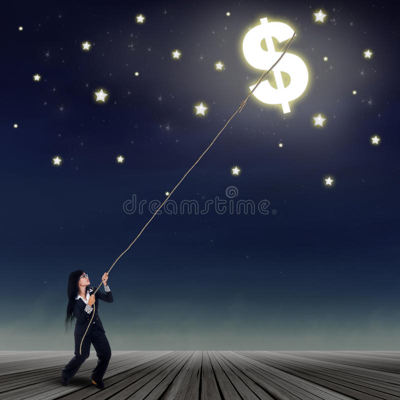 Geschäftsfrau, die ein Dollarsymbol nimmt vektor abbildung