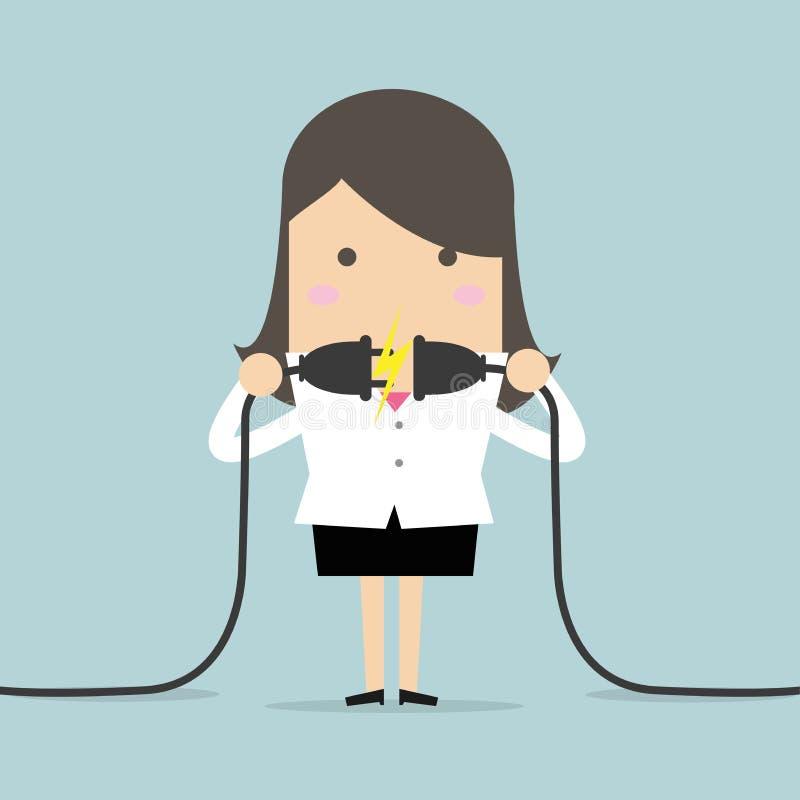 Geschäftsfrau, die ein Netzanschlusskabel anschließt lizenzfreie abbildung