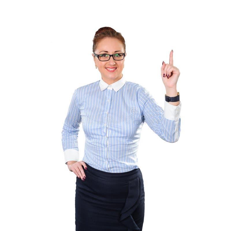 Geschäftsfrau, die eine gute Idee hat stockfotos