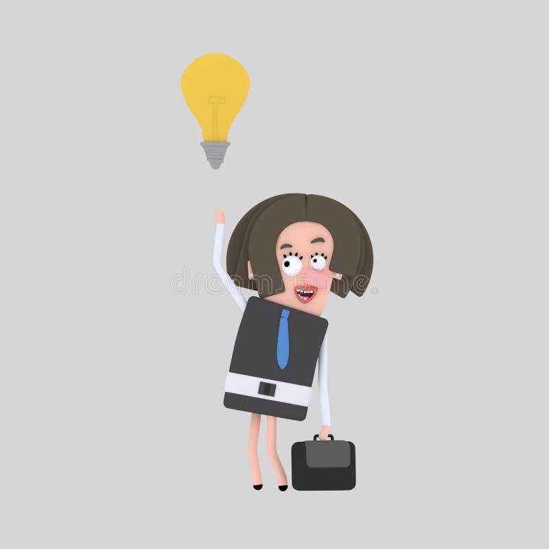 Geschäftsfrau, die eine gute Idee hat 3d vektor abbildung