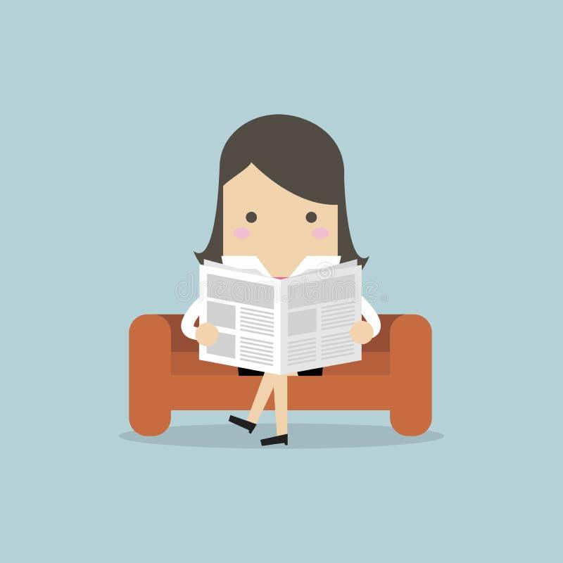 Geschäftsfrau, die eine Zeitung auf dem Sofa im Raum und im Büro liest stock abbildung