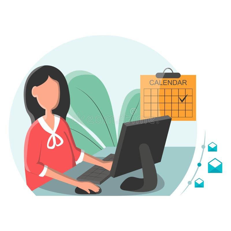 Geschäftsfrau, die an einem Laptop mit E-Mail-Symbol arbeitet Geschäftsfrau, die E-Mail erhält Geschäftsfrau sendet E-Mail stock abbildung