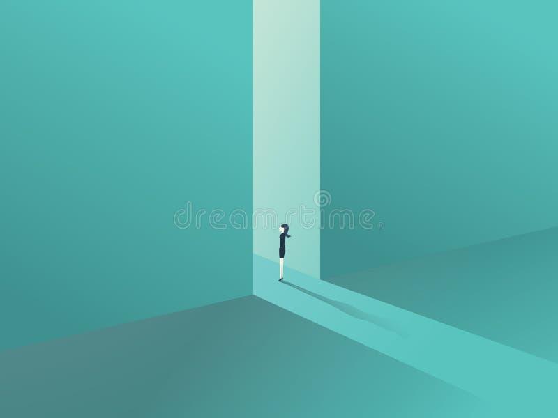 Geschäftsfrau, die in einem Tor als Symbol von Geschäftschancen, von Herausforderung, von Vision und von Zukunft steht stock abbildung