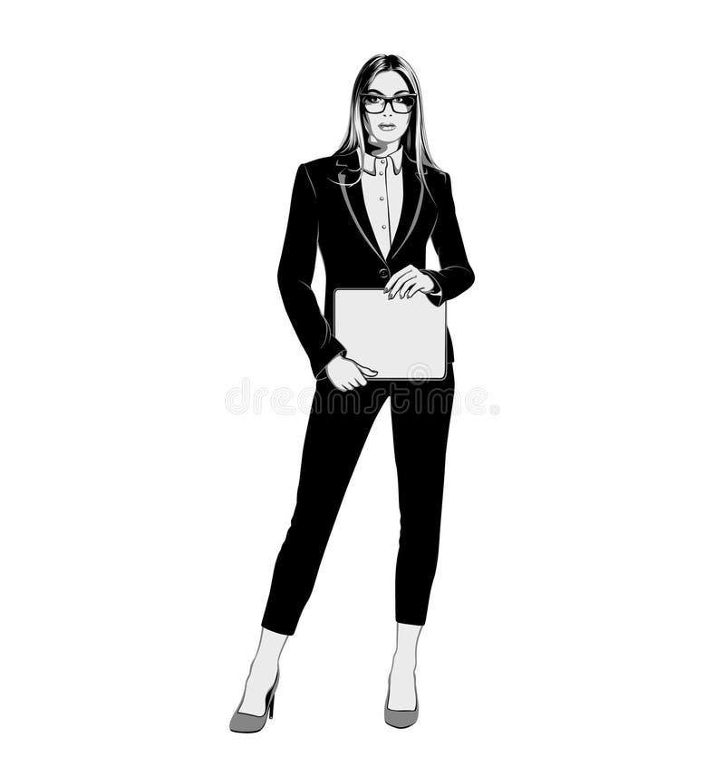 Geschäftsfrau, die einen Anzug auf einem weißen Hintergrund trägt Schwarzweiss-Vektor vektor abbildung