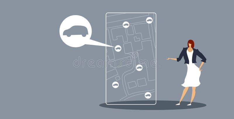 Geschäftsfrau, die Einrichtungsfahrerhausfrau des Smartphoneschirmes unter Verwendung Taxi-Servicekonzeptskizze der beweglichen A lizenzfreie abbildung