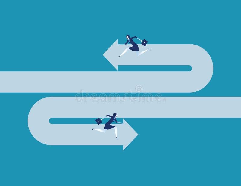 Geschäftsfrau, die entgegengesetzte Richtung laufen lässt Konzeptgesch?fts-Vektorillustration stock abbildung