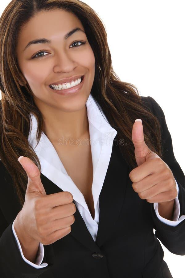 Geschäftsfrau, die Erfolg anzeigt lizenzfreie stockbilder