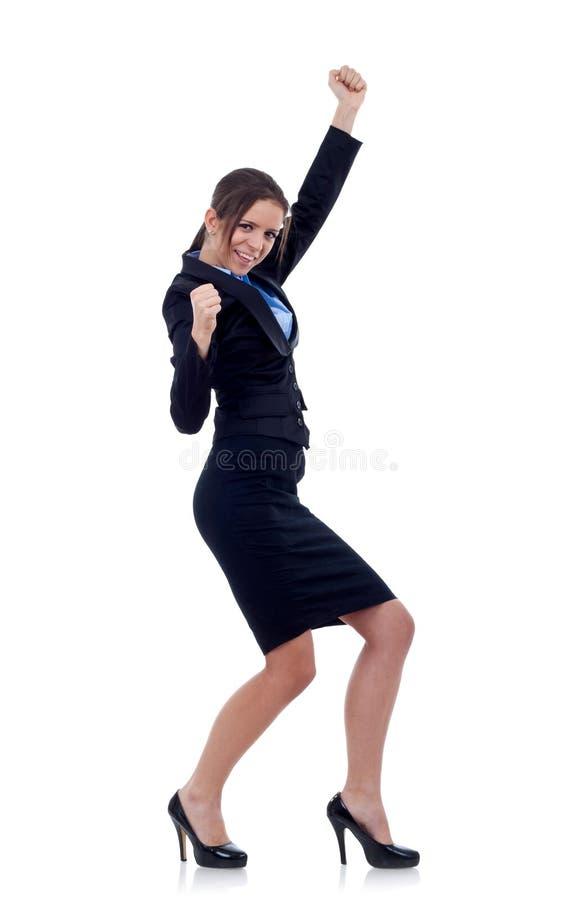 Geschäftsfrau, die Erfolg feiert stockfotografie