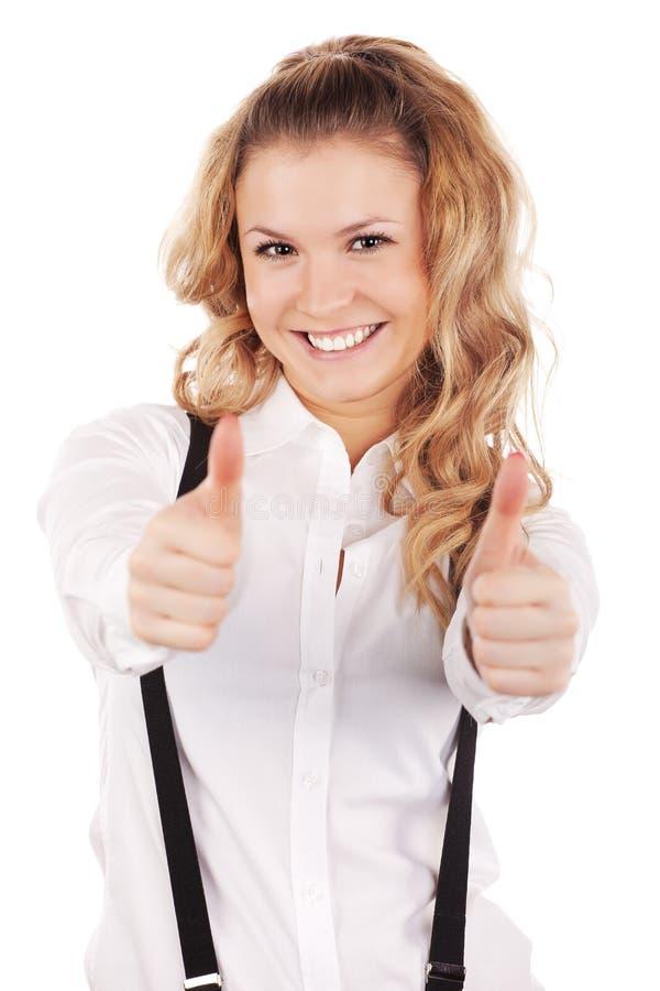 Geschäftsfrau, die Erfolg zeigt lizenzfreie stockbilder