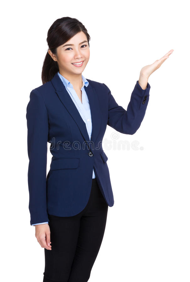 Geschäftsfrau, die etwas darstellt stockfotos